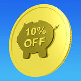 Ten Percent Off Coin Shows 10% Savings Royalty Free Stock Image