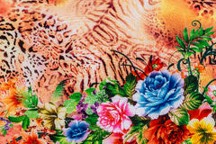 Texture of print fabric striped leopard and flower Royalty Free Stock Photo