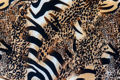 Texture of print fabric striped zebra and leopard Royalty Free Stock Photo
