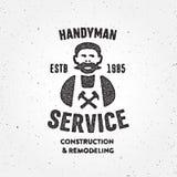 Textured Retro Handyman carpenter corporate service badge symbol Royalty Free Stock Photo