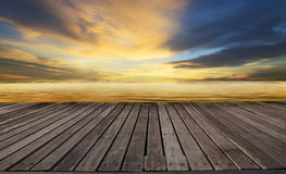 Textured of wood terrace and beautiful dusky sky with free copy space use for background,backdrop to display goods and new product Stock Photography