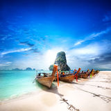 Thailand beach on tropical island. Beautiful travel background Royalty Free Stock Photography