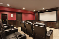Theater in luxury home Royalty Free Stock Image