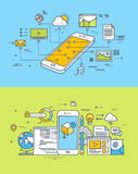 Thin line flat design concepts of mobile site and app design and development Royalty Free Stock Images