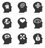 Human head silhouettes with ideas Stock Images