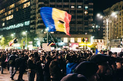 Thousands of people protesting in Bucharest Royalty Free Stock Photography