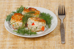 The three appetite cutlets with greens Stock Photo