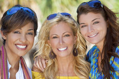 Three Beautiful Young Women Friends Laughing Royalty Free Stock Images