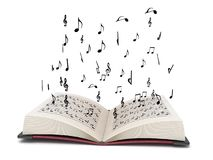 Three dimensional flying musical elements Royalty Free Stock Images