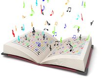 Three dimensional flying musical notes Stock Photo