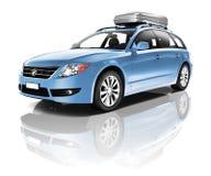 Three Dimensional Image of a Blue Car Stock Photos