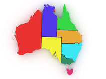 Three-dimensional map of Australia Stock Image
