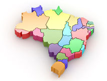 Three-dimensional map of Brazil. 3d Royalty Free Stock Photos