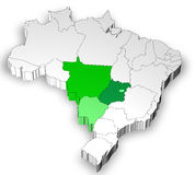 Three dimensional map of Brazil with midwest area Stock Image
