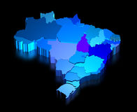 Three dimensional map of Brazil with states Royalty Free Stock Photo