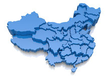 Three-dimensional map of China Royalty Free Stock Images