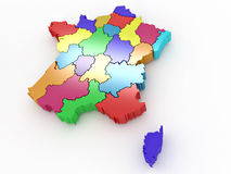 Three-dimensional map of France Royalty Free Stock Image