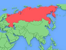 Three-dimensional map of Russia isolated. 3d Stock Images