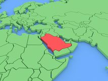 Three-dimensional map of Saudi Arabia isolated. 3d Stock Photography