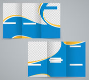 Three fold business brochure template, corporate flyer or cover design in blue colors Royalty Free Stock Photos