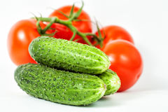 Three green cucumbers appetizing Stock Images