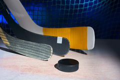 Three hockey sticks Royalty Free Stock Images