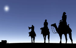Three Wise Men Following A Star Stock Images