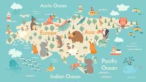 Tierweltkarte, Eurasien Lizenzfreies Stockbild