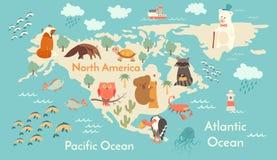 Tierweltkarte, Nordamerika Stockfotos
