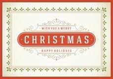 Tipográfico retro y flourishes de la Navidad Imagen de archivo