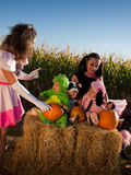 Toddlers in Halloween Costumes Stock Image