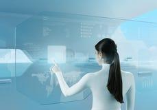 Toekomstige technologie. De drukknoptouchscreen van het meisje interface. Stock Afbeelding