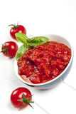 Tomato Puree with Basil Royalty Free Stock Photography