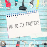 Top 10 diy projects against tools and notepad on wooden background Stock Images