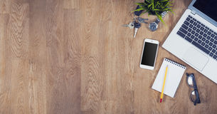 Top view office desk Royalty Free Stock Images