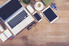 Top view office desk mockup Stock Photos