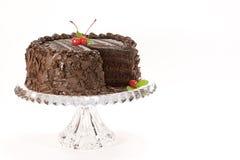 Torta di cioccolato con le ciliege Fotografie Stock