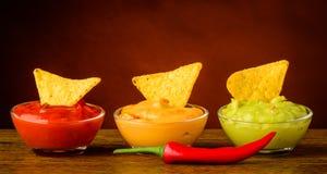 Tortilla chips and nacho dip Royalty Free Stock Photos