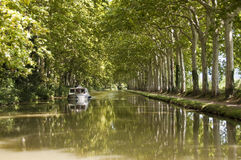 Tourism boat on the Canal du Midi Royalty Free Stock Images