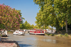 Tourism boat on the Canal du Midi Stock Image