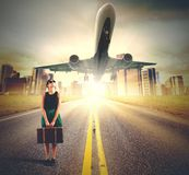 Tourist look plane Royalty Free Stock Images