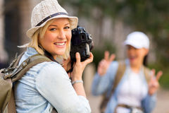 Tourist photo friend Royalty Free Stock Images