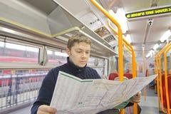 Tourist in train Stock Image
