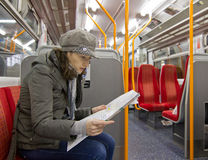 Tourist in train Stock Images