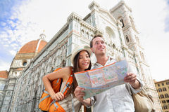 Tourist travel couple by Florence cathedral, Italy Stock Photo