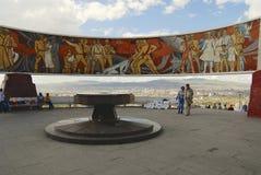 Tourists explore Zaisan war monument in Ulaanbaatar, Mongolia. Royalty Free Stock Images