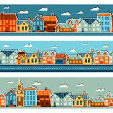 Town seamless patterns with cute colorful sticker Royalty Free Stock Image