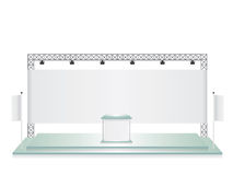 Trade exhibition stand glass and white flag banner Royalty Free Stock Photography
