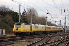 Train d'essai du TGV de rail de réseau sur WCML chez Carnforth Photo stock