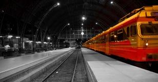 Train in railway station Stock Photos